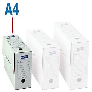 Staples Caja Archivo Definitivo Cartón A4, Tapa fija, Blanco, 335 x 80 x 245 mm