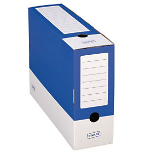 Staples Caja Archivo Definitivo Cartón Folio, Tapa fija, Azul y Blanco, 350 x 100 x 250 mm