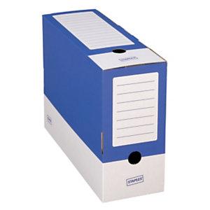 Staples Caja Archivo Definitivo Cartón Folio, Tapa fija, Azul y Blanco, 350 x 120 x 250 mm
