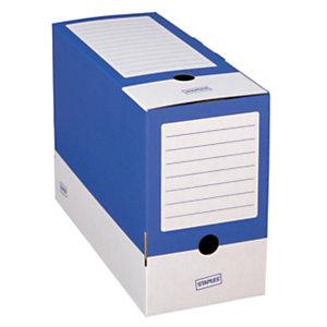 Staples Caja Archivo Definitivo Cartón Folio, Tapa fija, Azul y Blanco, 350 x 150 x 250 mm