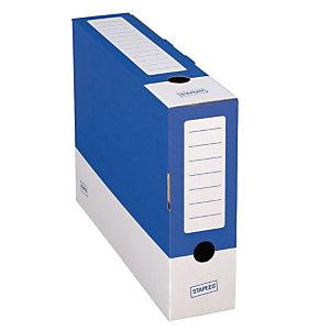 Staples Caja Archivo Definitivo Cartón Folio, Tapa fija, Azul y Blanco, 350 x 80 x 250 mm