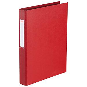 Staples Carpeta de 2 anillas de tipo O de 25 mm, A4, cartón plastificado, lomo 40 mm, rojo