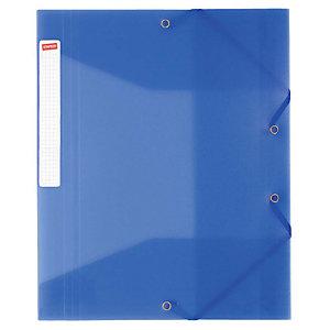 Staples Carpeta de gomas, A4, 3 solapas, 250 hojas, polipropileno, azul translúcido