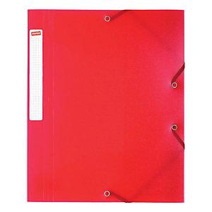 Staples Carpeta de gomas, A4, 3 solapas, 250 hojas, polipropileno, rojo translúcido