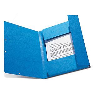 Staples Carpeta de gomas, A4, 3 solapas, lomo 15 mm, cartulina, azul