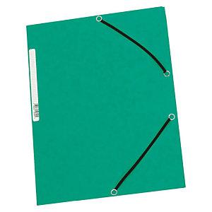 Staples Carpeta de gomas, A4, 3 solapas, lomo 15 mm, cartulina, verde