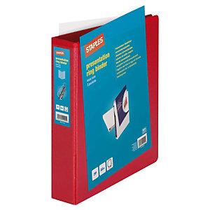Staples Carpeta personalizable canguro de 4 anillas de 40 mm A4 Maxi lomo 60 mm de cartón plastificado rojo
