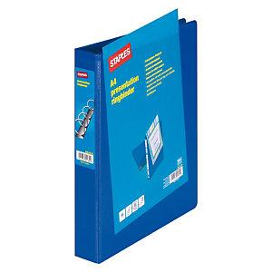 Staples Carpeta personalizable canguro de 4 anillas de 40 mm A4 Maxi lomo 60 mm de cartón reciclado plastificado azul