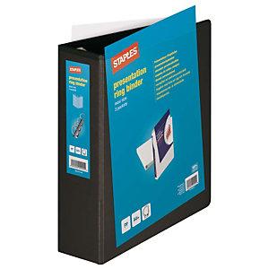 Staples Carpeta personalizable canguro de 4 anillas de 60 mm A4 Maxi lomo 86 mm de cartón plastificado negro