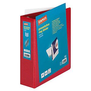 Staples Carpeta personalizable canguro de 4 anillas de 60 mm A4 Maxi lomo 86 mm de cartón plastificado rojo