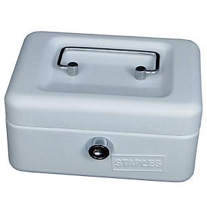Staples Cassetta portavalori - Dimensioni (l x p x h) cm 15 x 11,5 x 7,5 -  Colore bianco