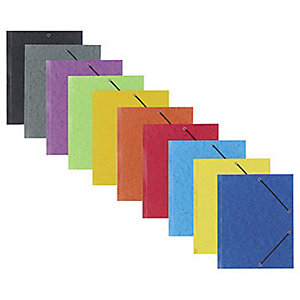 Staples Chemise à élastiques 3 rabats - Carte lustrée 5/10 - Format 24 x 32 cm - Dos 2,5 cm - Sans étiquette - Coloris Assortis Toniques  (Lot de 10)