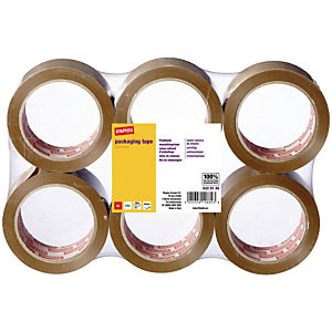 Staples Cinta de embalaje industrial de bajo ruido, 50 mm x 66 m, PVC, marrón