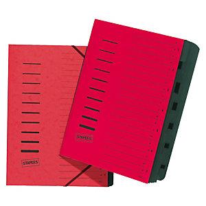 Staples Clasificador, A4, polipropileno, conjunto de 7 pestañas, rojo