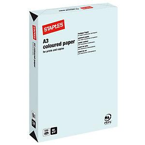 Staples Coloured paper Carta Colorata A3 per Fax, Fotocopiatrici, Stampanti Laser e Inkjet, 80 g/m², Celeste (risma 500 fogli)