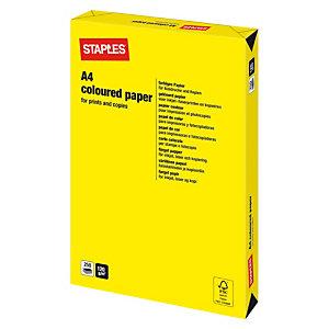 Staples Coloured Paper Papel de Colores para Faxes, Fotocopiadoras, Impresoras Láser e Impresoras de Inyección de Tinta Amarillo Intenso A4 120 g/m²