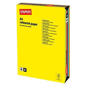 Staples Coloured Paper Papel de Colores para Faxes, Fotocopiadoras, Impresoras Láser e Impresoras de Inyección de Tinta Colores Surtidos Intensos A4 80 g/m²
