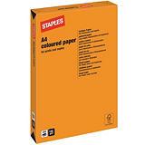 Staples Coloured Paper Papel de Colores para Faxes, Fotocopiadoras, Impresoras Láser e Impresoras de Inyección de Tinta Naranja intenso A4 120 g/m²