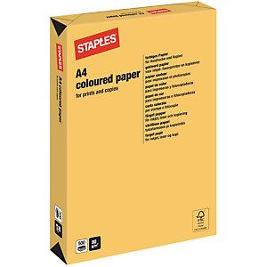Staples Coloured Paper Papel de Colores para Faxes, Fotocopiadoras, Impresoras Láser e Impresoras de Inyección de Tinta Oro A4 80 g/m²