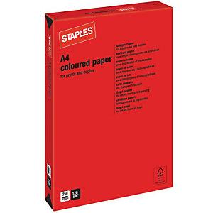 Staples Coloured Paper Papel de Colores para Faxes, Fotocopiadoras, Impresoras Láser e Impresoras de Inyección de Tinta Rojo intenso A4 120 g/m²