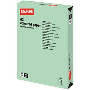 Staples Coloured Paper Papel de Colores para Faxes, Fotocopiadoras, Impresoras Láser e Impresoras de Inyección de Tinta Verde Pastel A3 80 g/m²