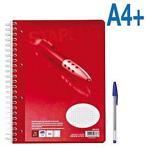 Staples Cuaderno, A4+, cuadriculado, 160 hojas, cubierta blanda cartulina, rojo