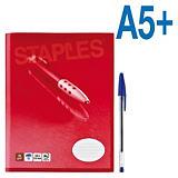 Staples Cuaderno grapado, A5, rayado horizontal, 40 hojas, cubierta blanda cartulina, rojo