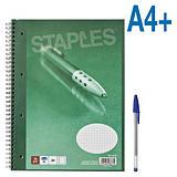 Staples Cuaderno reciclado, A4+, cuadriculado, 80 hojas, cubierta blanda cartulina, verde