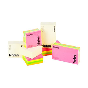 Staples Cubo de notas autoadhesivas, 76 x 76 mm, 70 gramos, amarillo pastel