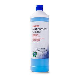 Staples Detergente multiuso per superfici, Profumo al limone fresco, Blu, Concentrato, 1 litri (confezione 2 pezzi)
