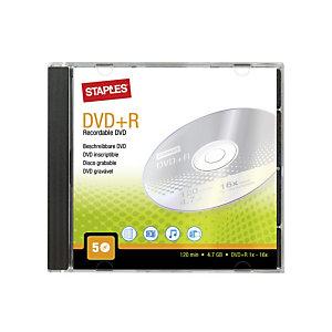 Staples Discos DVD+R vírgenes de 4,7 GB / 120 min, 16 X de velocidad Paquete de 5 unidades con carcasa protectora