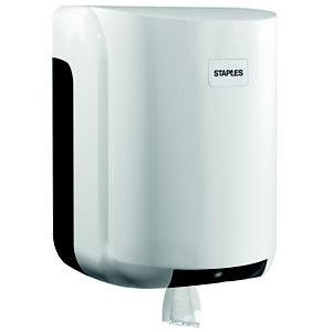 Staples Dispensador de rollos de papel grandes con salida central de plástico ABS blanco con bloqueo de 310 x 220 x 220 mm