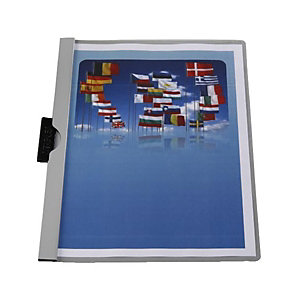 Staples Dossier de pinza, A4, PVC, 30 hojas, gris