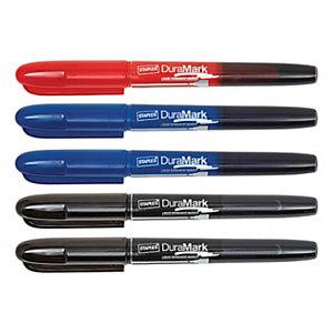 Staples DuraMark Rotulador permanente de tinta líquida, punta ojival, ancho de línea de 1 a 3 mm, tinta no tóxica, colores variados: negro, azul y rojo