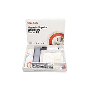 Staples El kit básico de pizarra blanca de borrado en seco magnética incluye 7 accesorios, paquete de 42