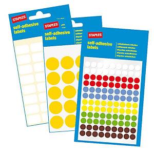 Staples Etichette autoadesive, Rotonde, 12 mm, 8 etichette per foglio, 4 colori assortiti (confezione da 6 fogli)