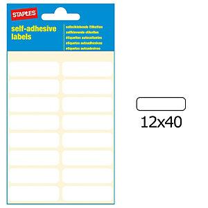 Staples Etiquetas autoadhesivas, 12mmx40mm, 16 etiquetas por hoja, blancas