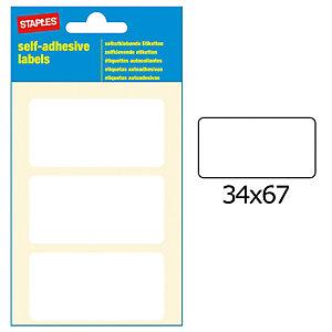 Staples Etiquetas autoadhesivas, 34 mmx67 mm, 3etiquetas por hoja, blancas