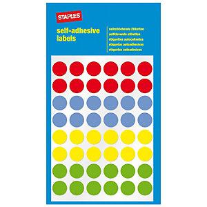 Staples Etiquetas autoadhesivas, redondas, 12mm, 48etiquetas por hoja, 4colores variados