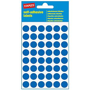 Staples Etiquetas autoadhesivas, redondas, 12mm, 48etiquetas por hoja, azul oscuro