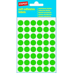 Staples Etiquetas autoadhesivas, redondas, 12 mm, 48etiquetas por hoja, verde