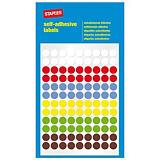 Staples Etiquetas autoadhesivas, redondas, 8 mm, 108etiquetas por hoja, 6colores variados