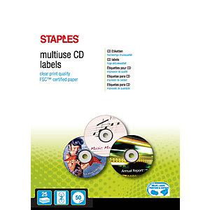 Staples Etiquetas de CD permanentes, 117mm de diámetro, 2etiquetas por hoja, blancas