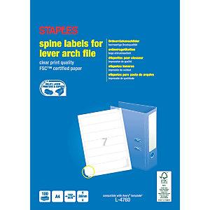 Staples Etiquetas de lomo para archivadores de palanca, 192mmx38 mm, 7etiquetas por hoja, blancas, esquinas redondeadas