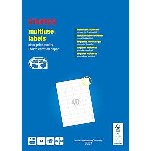 Staples Etiquetas multiuso, 48,5x25,4 mm, 40etiquetas por hoja, blancas