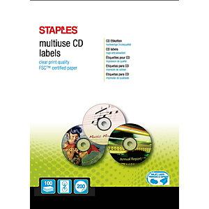 Staples Étiquettes CD permanentes, diamètre 117mm, 2étiquettes par page, blanches
