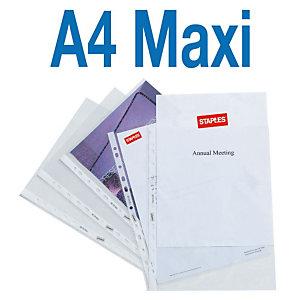 Staples Funda perforada, A4 Maxi, PVC, 11 orificios, lisa, transparente
