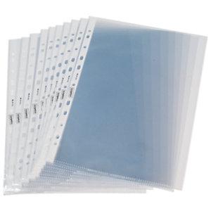 Staples Funda perforada, A4, polipropileno de 100 micras, 11 orificios, lisa, transparente con bandas blancas