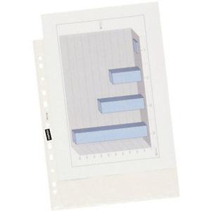 Staples Funda perforada, A4, polipropileno de 50 micras, 11 orificios, rugosa, transparente con bandas blancas