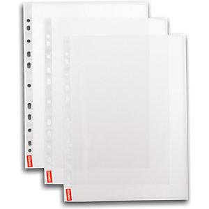Staples Funda perforada, A4, polipropileno de 55 micras, 11 orificios, lisa, transparente